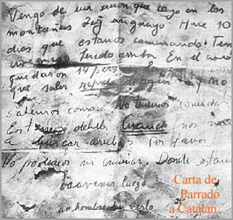 Carta arrojada a Catalán de Parrado explicándole que venían de un avión perdido hacia 72 días