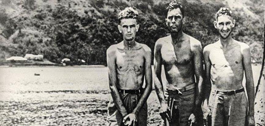 Tony Pastula, Harold Dixon y Gene Aldrich cuando llegaron a tierra firme