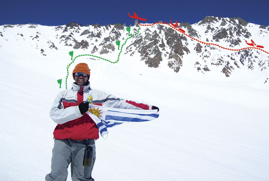 Con rojo el punto de impacto del avión y el tobogán, con verde la expedición homenaje invernal